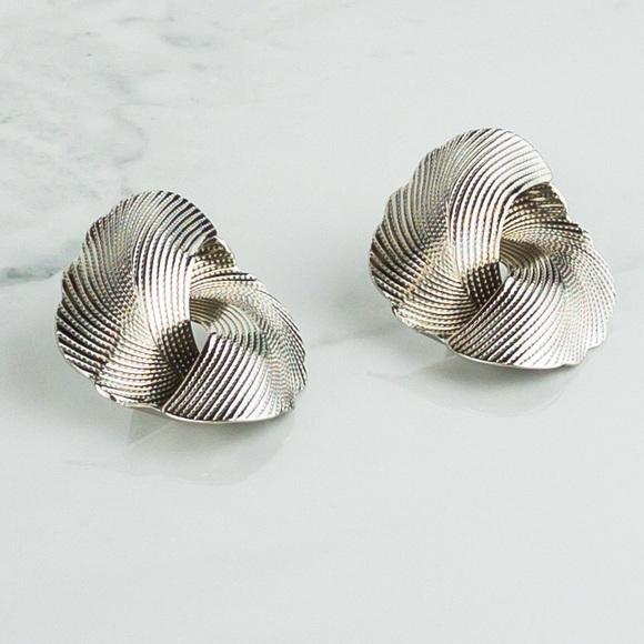 Silver Textured Large Stud Earrings